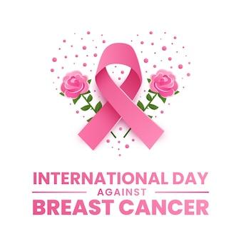 Internationale dag met kleurovergang tegen de illustratie van borstkanker
