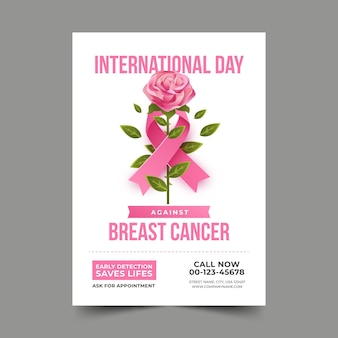 Internationale dag met kleurovergang tegen verticale flyer-sjabloon voor borstkanker