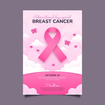 Internationale dag met kleurovergang tegen verticale postersjabloon voor borstkanker