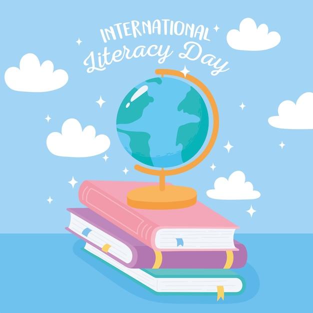 Internationale dag van alfabetisering, schoolbolkaart op boeken
