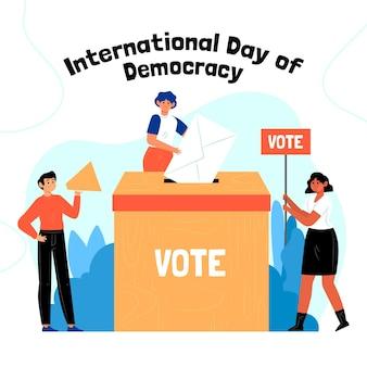 Internationale dag van de democratie achtergrond met mensen stemmen