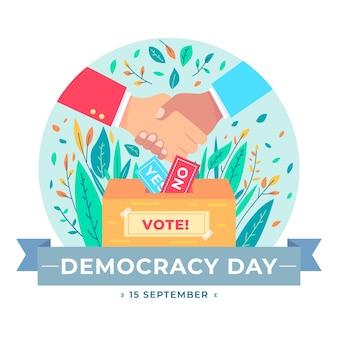 Internationale dag van de democratie met handdruk