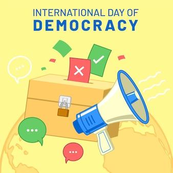 Internationale dag van de democratie met megafoon