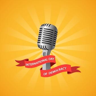 Internationale dag van de democratie met microfoon en lint.