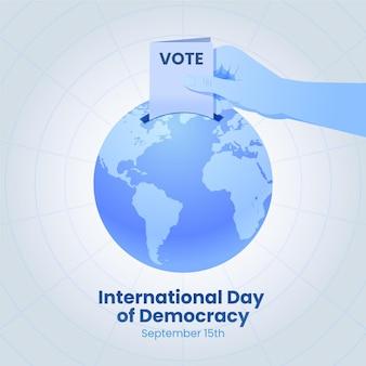Internationale dag van de democratie met stemmen en aarde