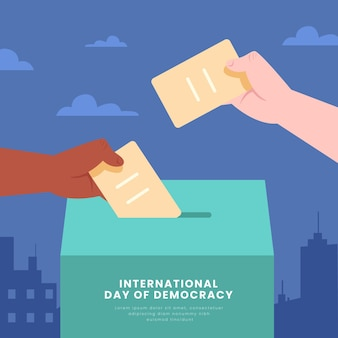Internationale dag van de democratie met stemmen
