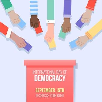 Internationale dag van de democratie met stemmen