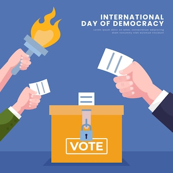Internationale dag van de democratie met stemming