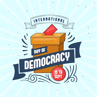 Internationale dag van de democratie stembus en lint