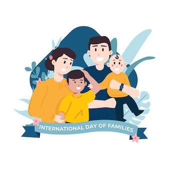 Internationale dag van de familie illustratie van ouders met kinderen