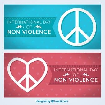 Internationale dag van de geweldloosheid banners