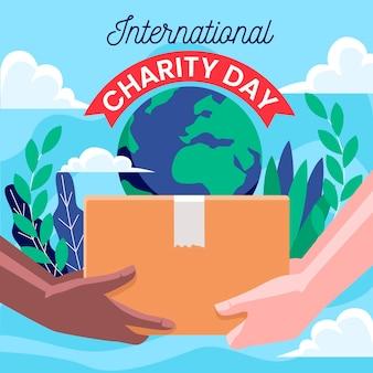 Internationale dag van de liefdadigheid platte ontwerp achtergrond