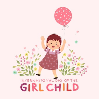 Internationale dag van de meisjeskindachtergrond met een klein meisje dat een roze ballon vasthoudt