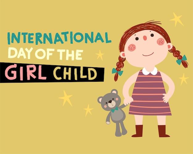 Internationale dag van de meisjeskindachtergrond met een klein meisje en haar teddybeer.