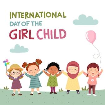 Internationale dag van de meisjeskindachtergrond met kleine meisjes die elkaars hand vasthouden
