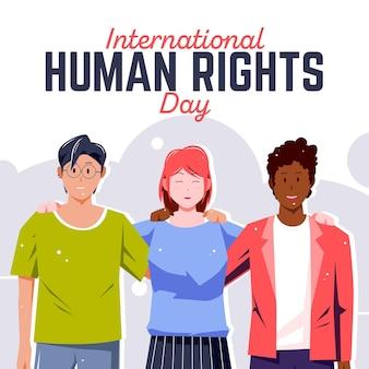 Internationale dag van de mensenrechten platte ontwerp achtergrond