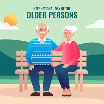 Internationale dag van de oudere personenillustratie