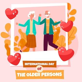 Internationale dag van de ouderen met de hand getekend