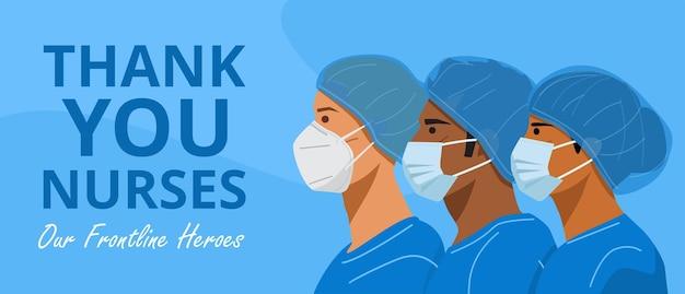Internationale dag van de verpleegsters, verpleegkundigen met gezichtsmaskers en beschermkappen.