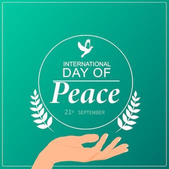 Internationale dag van de vrede. 21 sept. flyer, spandoek, briefkaart.