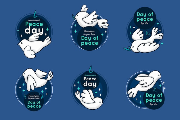 Internationale dag van de vrede badges collectie