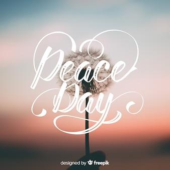Internationale dag van de vrede belettering achtergrond