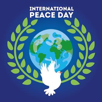 Internationale dag van de vrede belettering met duif en planeet van de wereld