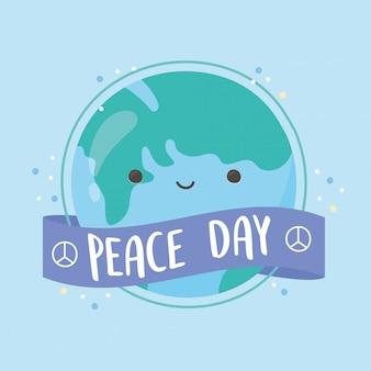 Internationale dag van de vrede cartoon wereldkaart lint decoratie vectorillustratie