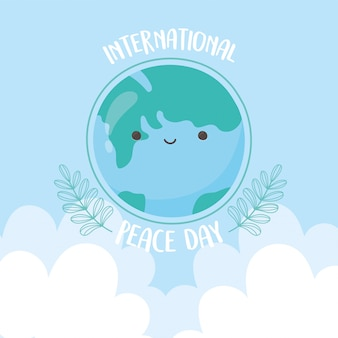 Internationale dag van de vrede cartoon wereldkaart tak concept vectorillustratie