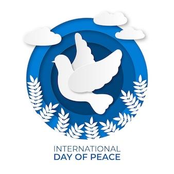 Internationale dag van de vrede in papieren stijl