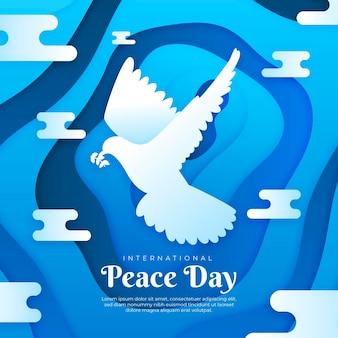 Internationale dag van de vrede in papierstijl