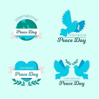 Internationale dag van de vrede labels in platte ontwerp