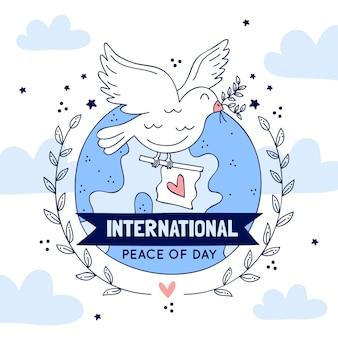 Internationale dag van de vrede met duif en vlag
