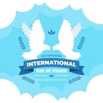 Internationale dag van de vrede platte ontwerp achtergrond