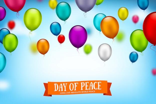 Internationale dag van de vrede. veelkleurige ballonnen vliegen in de lucht
