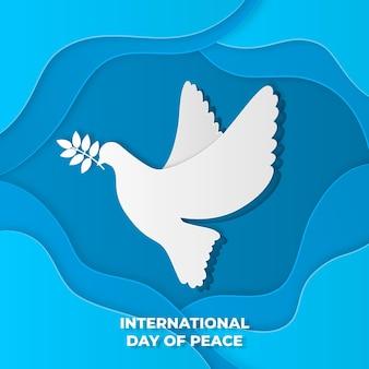 Internationale dag van de vredesvogel in papieren stijl