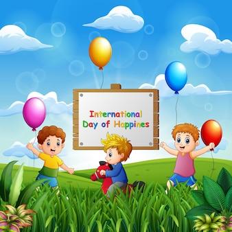 Internationale dag van geluk achtergrond met gelukkige kinderen