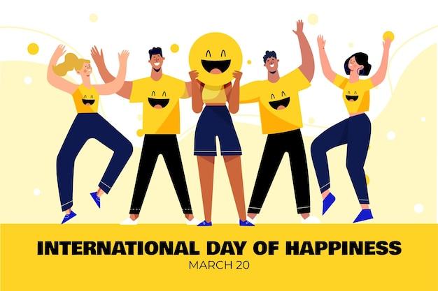 Internationale dag van geluk illustratie met mensen en emoji