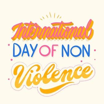 Internationale dag van geweldloosheid belettering
