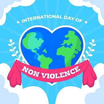 Internationale dag van geweldloosheid met hartvormige aarde