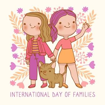 Internationale dag van gezinnen die concept trekken