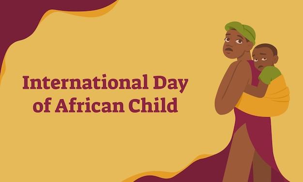 Internationale dag van het afrikaanse kind horizontale banner met afrikaanse familiemoeder en haar kind