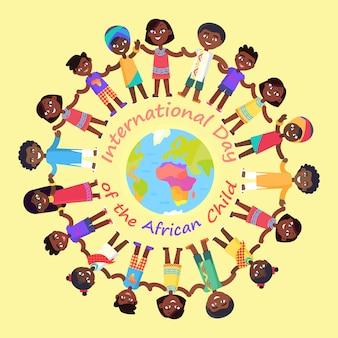 Internationale dag van het afrikaanse kind illustratie met kinderen die de handen in de cirkel rond de aarde houden