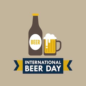 Internationale dag van het bier vector illustratie in vlakke stijl