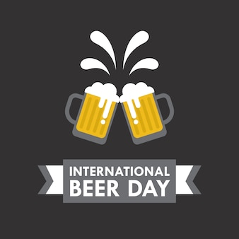 Internationale dag van het bier vector illustratie in vlakke stijl