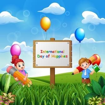 Internationale dag van het geluk achtergrond met gelukkige schoolkinderen