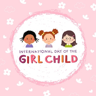 Internationale dag van het meisje kind achtergrond met drie kleine meisjes op roze achtergrond.