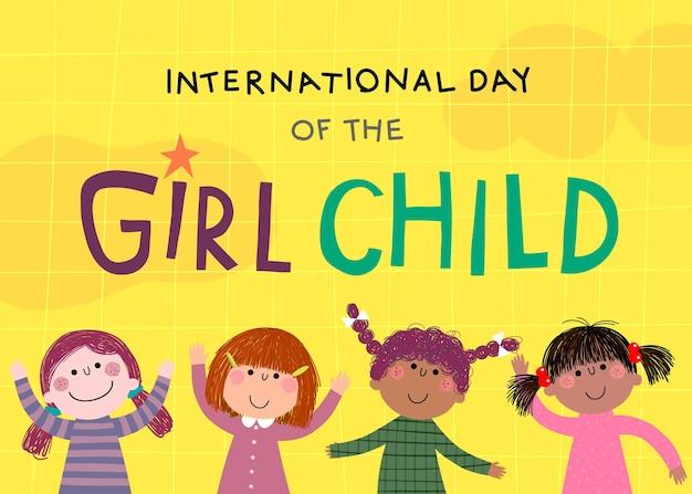 Internationale dag van het meisje kind achtergrond met kleine meisjes op gele achtergrond.