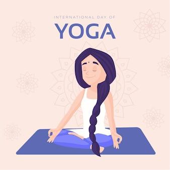 Internationale dag van het ontwerp van de banner van yoga