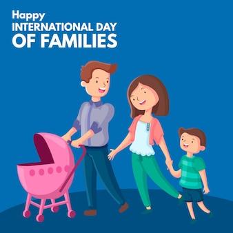Internationale dag van het ontwerp van de gezinnenillustratie
